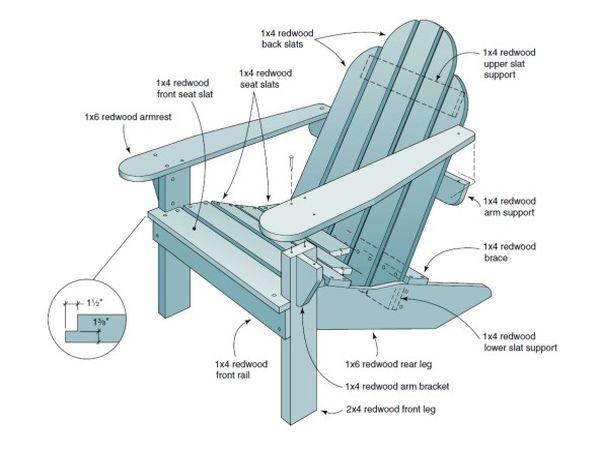 Дачное кресло своими руками из дерева чертежи