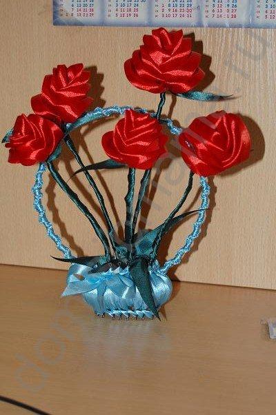 Корзиночка с розами из атласных лент.