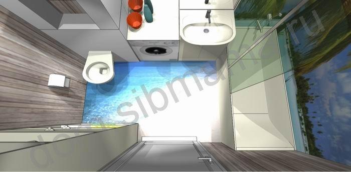 Дизайн ванной комнаты с наливными полами 3д